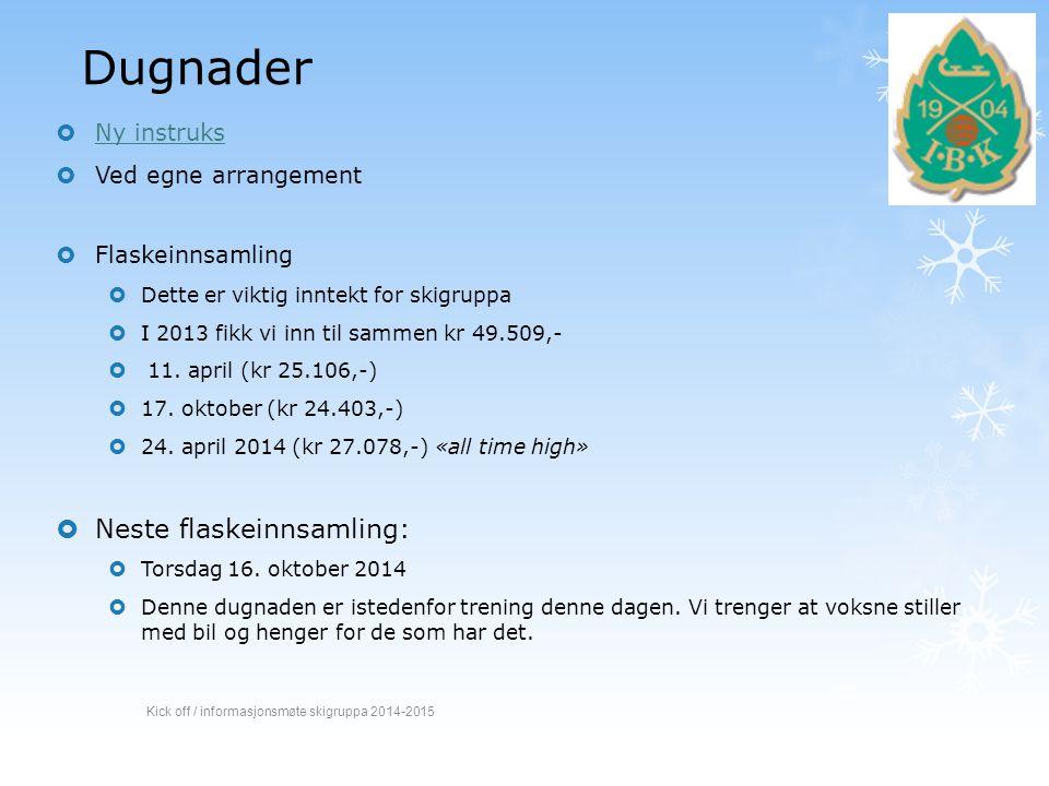 Dugnader Neste flaskeinnsamling: Ny instruks Ved egne arrangement
