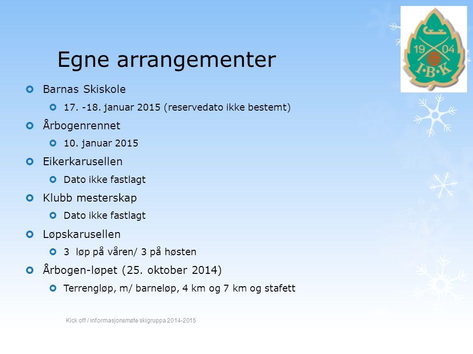 Egne arrangementer Barnas Skiskole Årbogenrennet Eikerkarusellen