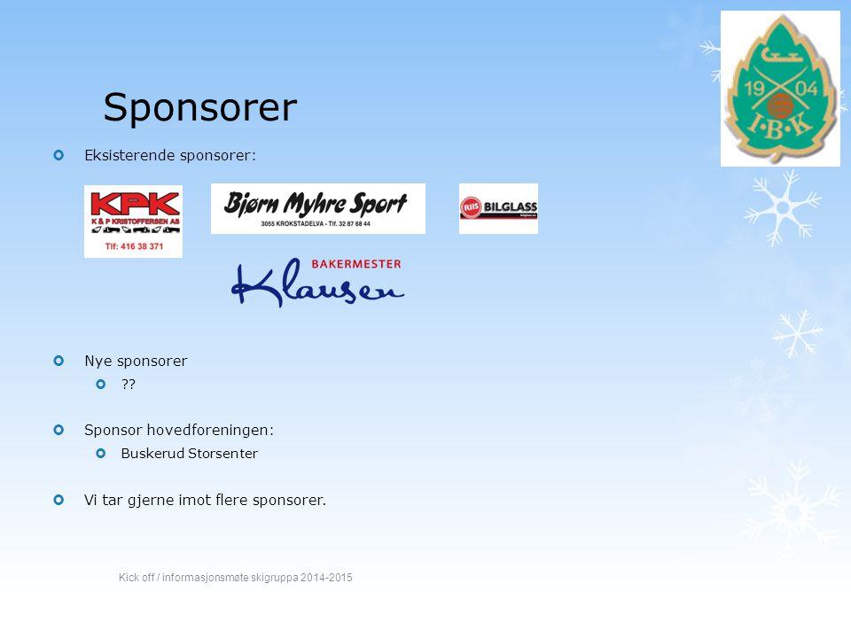 Sponsorer Eksisterende sponsorer: Nye sponsorer