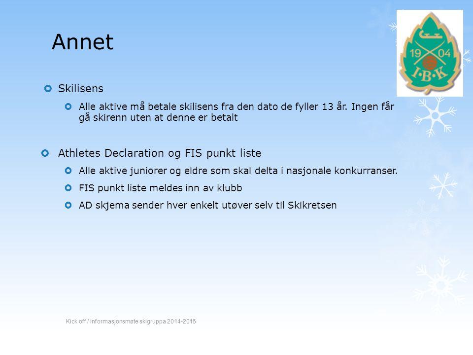 Annet Skilisens Athletes Declaration og FIS punkt liste