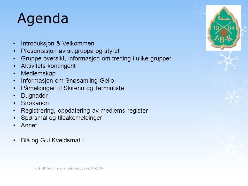 Agenda Introduksjon & Velkommen Presentasjon av skigruppa og styret