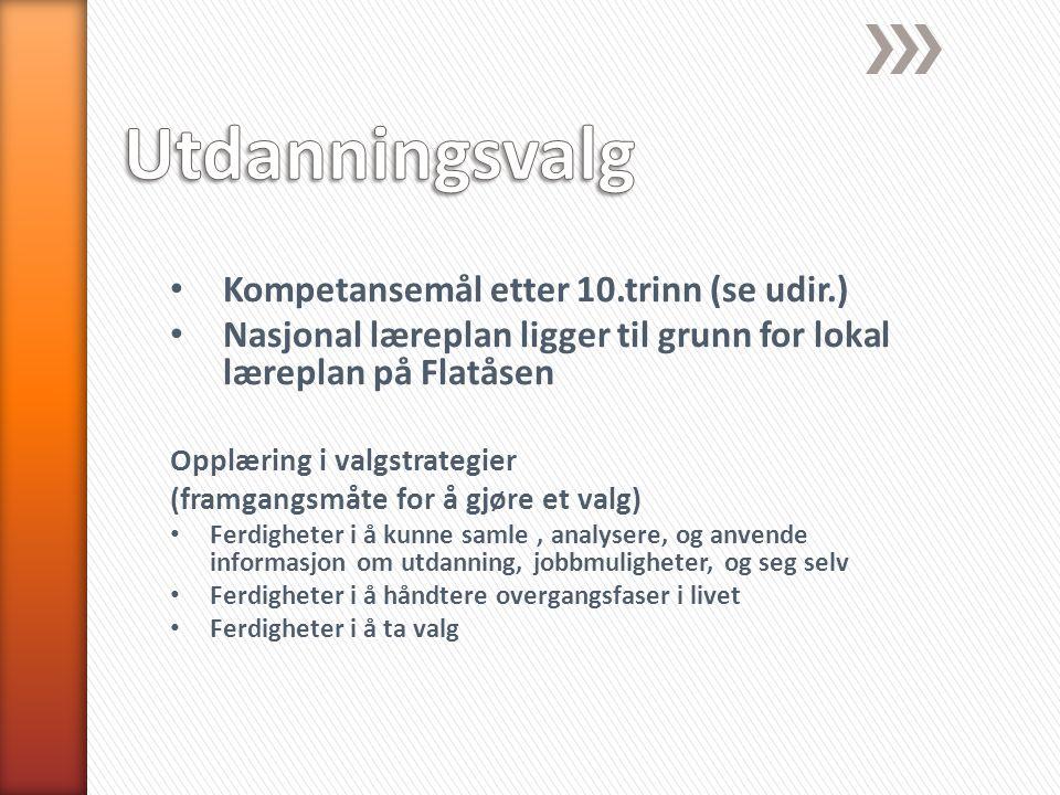 Utdanningsvalg Kompetansemål etter 10.trinn (se udir.)