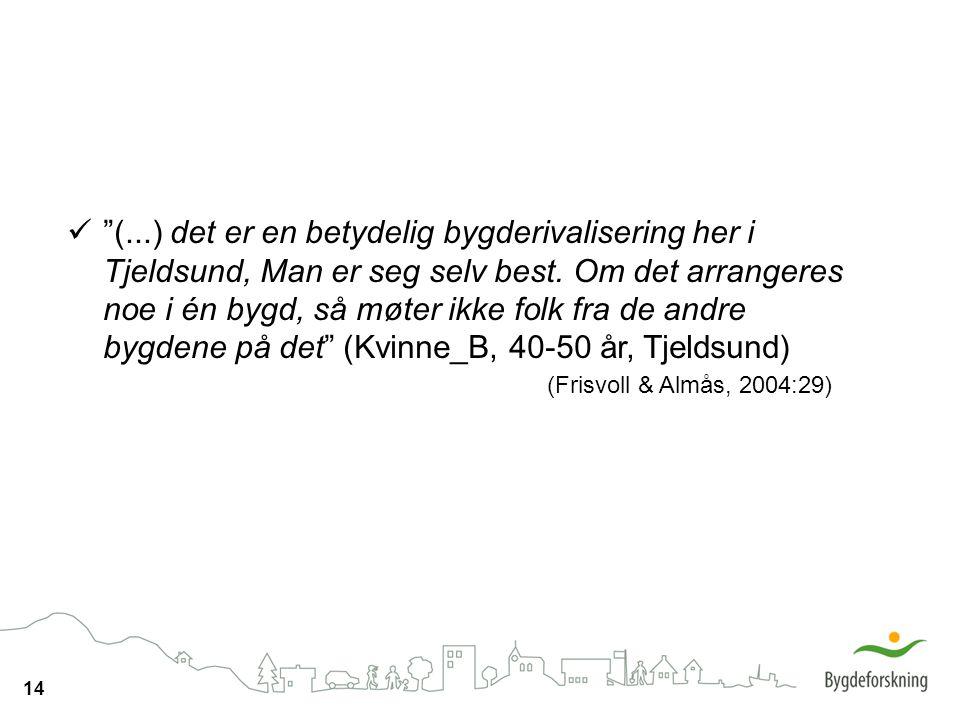 (...) det er en betydelig bygderivalisering her i Tjeldsund, Man er seg selv best. Om det arrangeres noe i én bygd, så møter ikke folk fra de andre bygdene på det (Kvinne_B, 40-50 år, Tjeldsund)