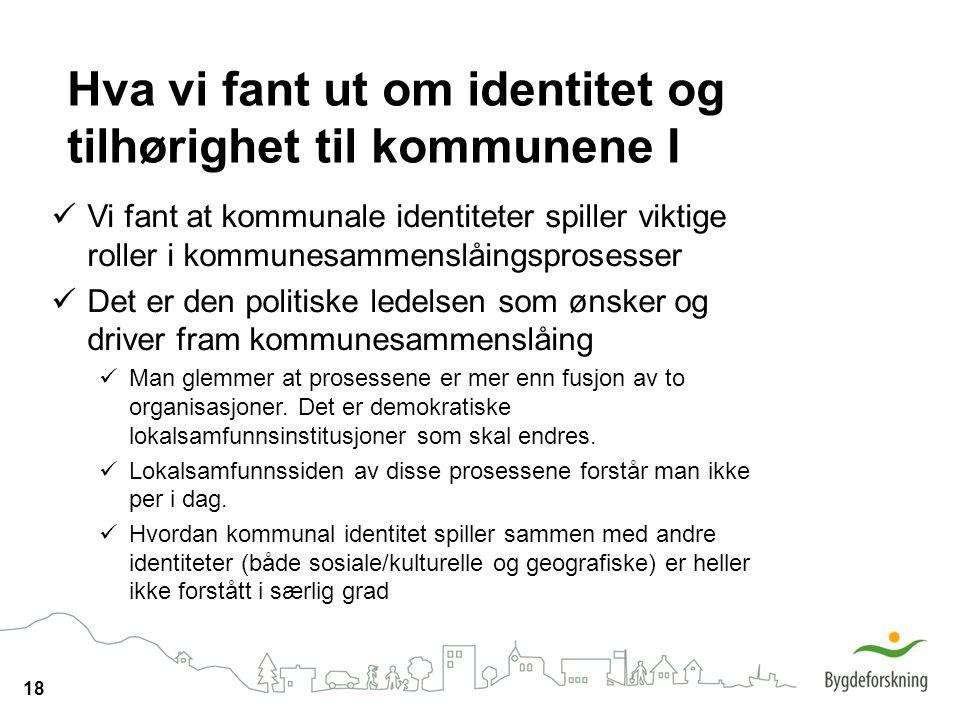 Hva vi fant ut om identitet og tilhørighet til kommunene I