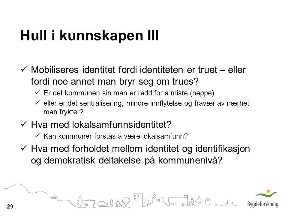 Hull i kunnskapen III Mobiliseres identitet fordi identiteten er truet – eller fordi noe annet man bryr seg om trues