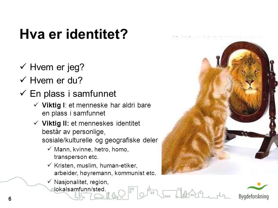 Hva er identitet Hvem er jeg Hvem er du En plass i samfunnet