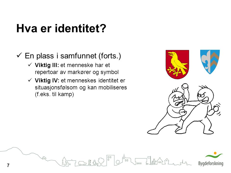 Hva er identitet En plass i samfunnet (forts.)
