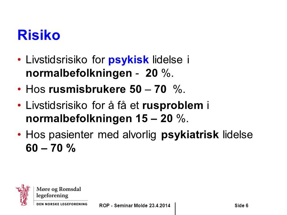 Risiko Livstidsrisiko for psykisk lidelse i normalbefolkningen - 20 %.