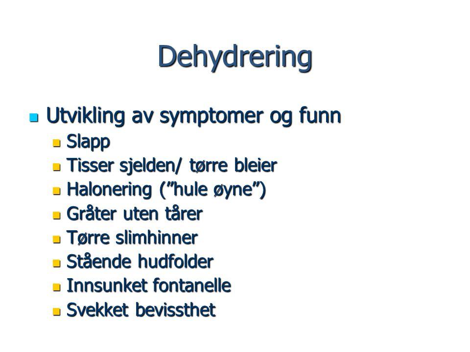 Dehydrering Utvikling av symptomer og funn Slapp