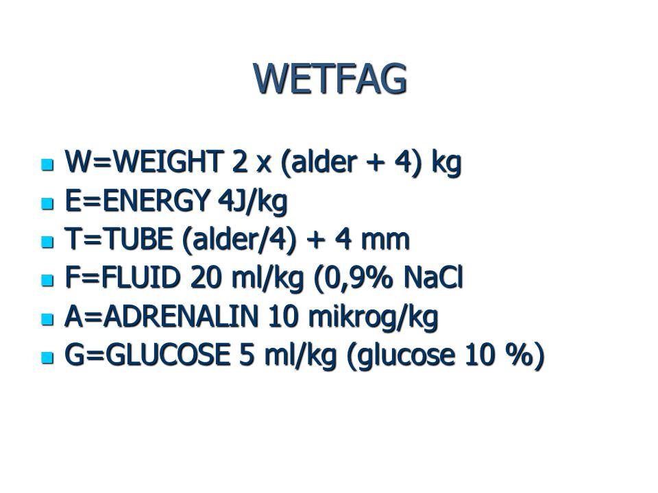 WETFAG W=WEIGHT 2 x (alder + 4) kg E=ENERGY 4J/kg