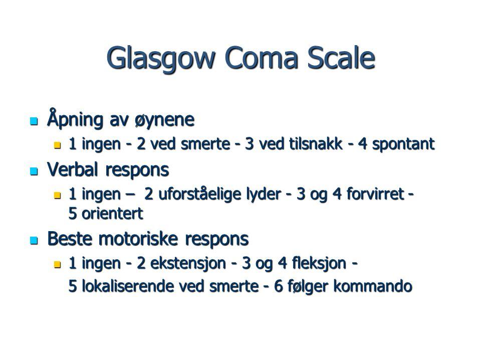 Glasgow Coma Scale Åpning av øynene Verbal respons