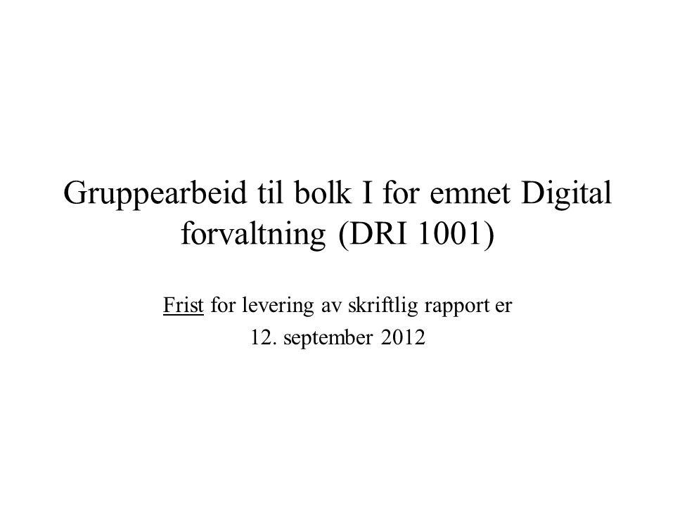 Gruppearbeid til bolk I for emnet Digital forvaltning (DRI 1001)