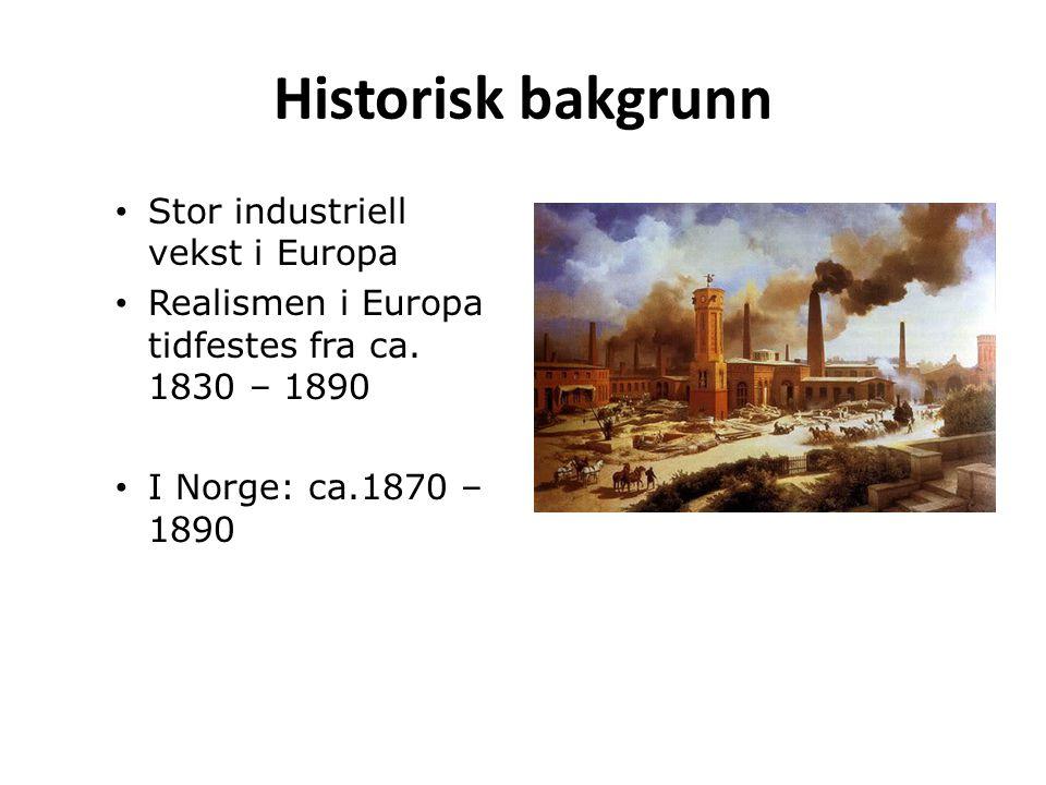 Historisk bakgrunn Stor industriell vekst i Europa