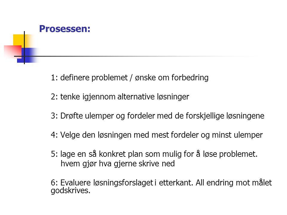 Prosessen: 1: definere problemet / ønske om forbedring