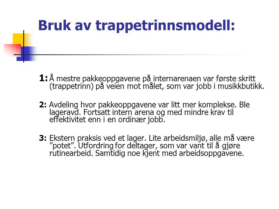 Bruk av trappetrinnsmodell: