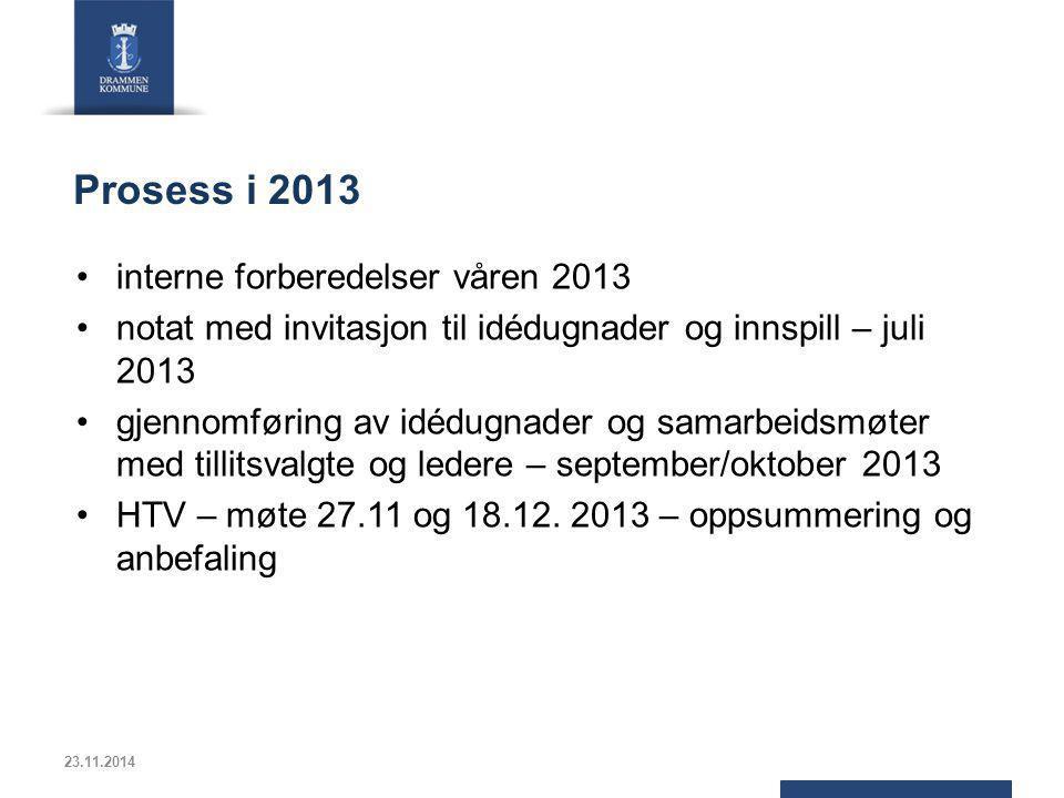 Prosess i 2013 interne forberedelser våren 2013