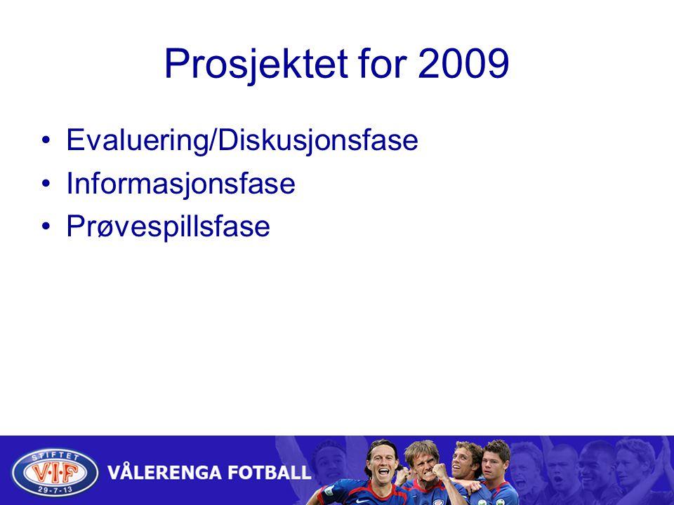 Prosjektet for 2009 Evaluering/Diskusjonsfase Informasjonsfase