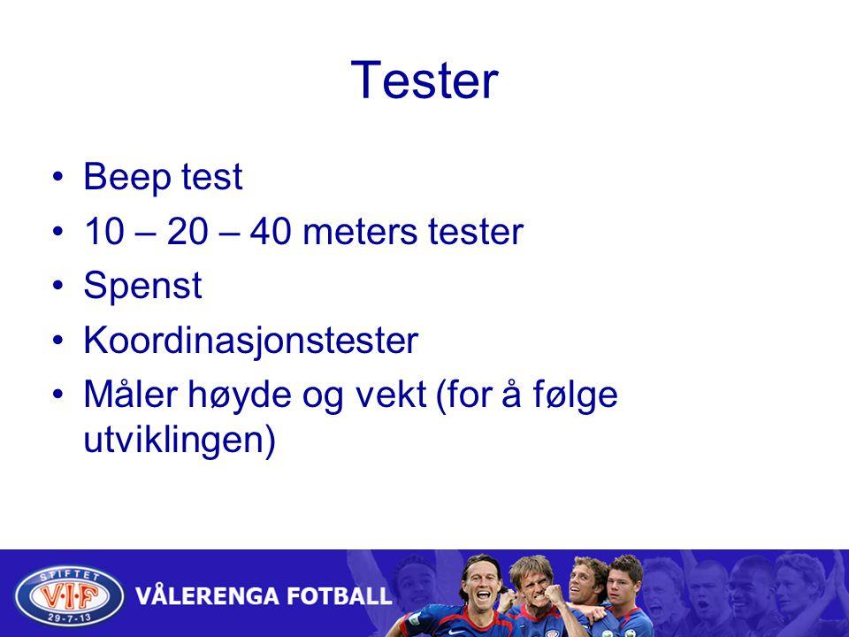 Tester Beep test 10 – 20 – 40 meters tester Spenst Koordinasjonstester