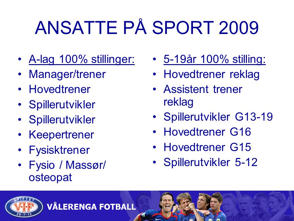 ANSATTE PÅ SPORT 2009 A-lag 100% stillinger: Manager/trener