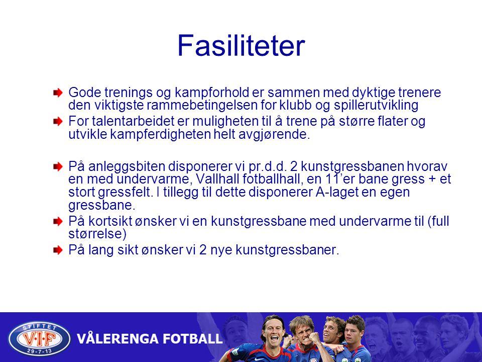 Fasiliteter Gode trenings og kampforhold er sammen med dyktige trenere den viktigste rammebetingelsen for klubb og spillerutvikling.
