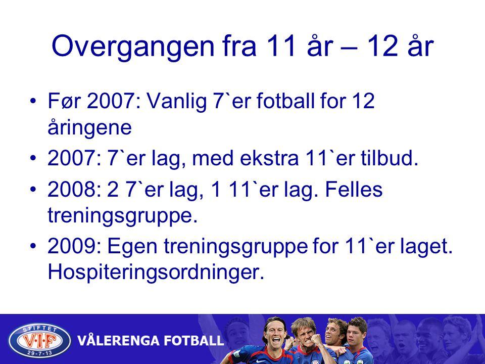 Overgangen fra 11 år – 12 år Før 2007: Vanlig 7`er fotball for 12 åringene. 2007: 7`er lag, med ekstra 11`er tilbud.