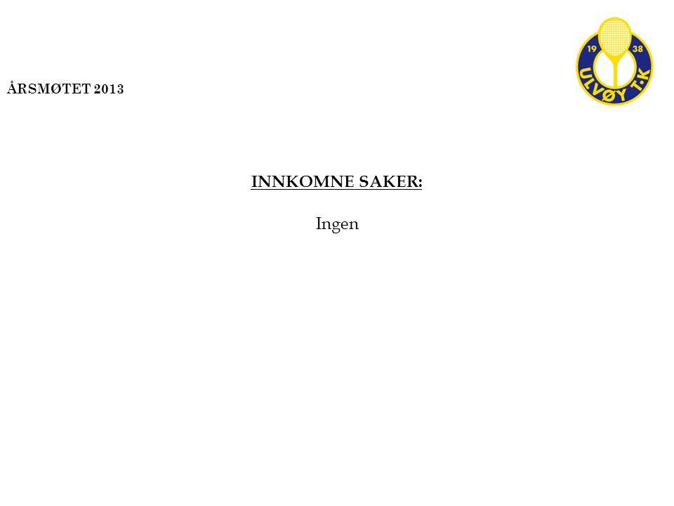 ÅRSMØTET 2013 INNKOMNE SAKER: Ingen