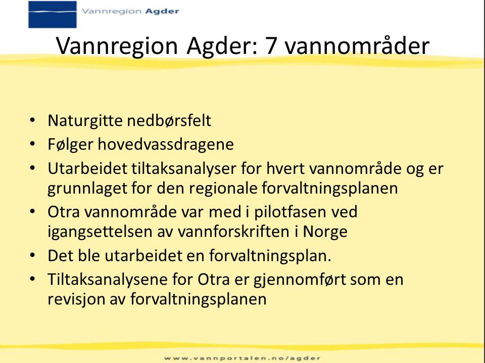 Vannregion Agder: 7 vannområder