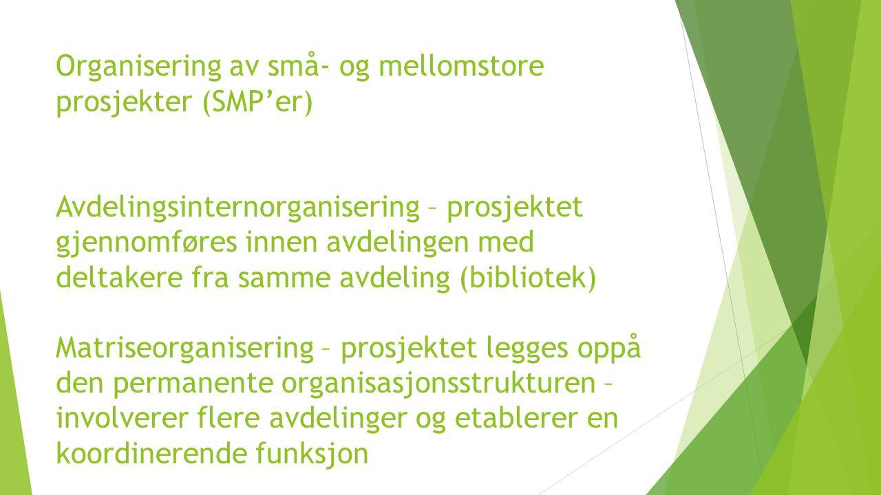 Organisering av små- og mellomstore prosjekter (SMP'er) Avdelingsinternorganisering – prosjektet gjennomføres innen avdelingen med deltakere fra samme avdeling (bibliotek) Matriseorganisering – prosjektet legges oppå den permanente organisasjonsstrukturen –involverer flere avdelinger og etablerer en koordinerende funksjon