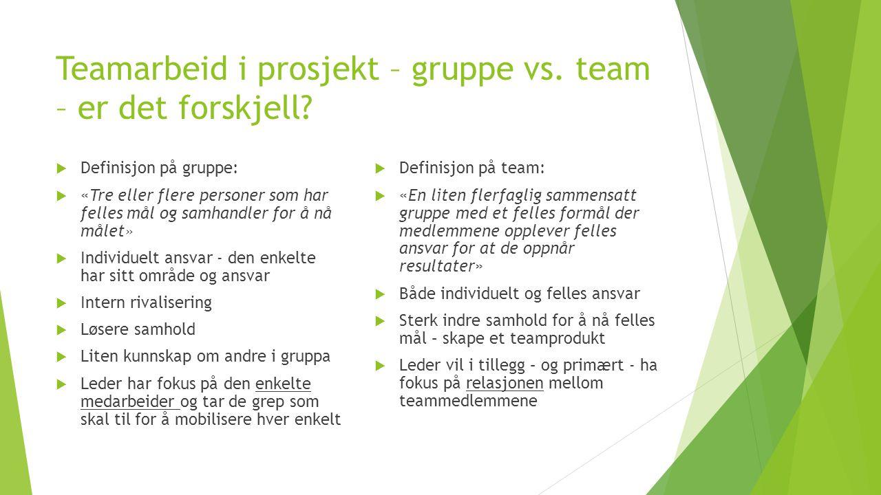 Teamarbeid i prosjekt – gruppe vs. team – er det forskjell