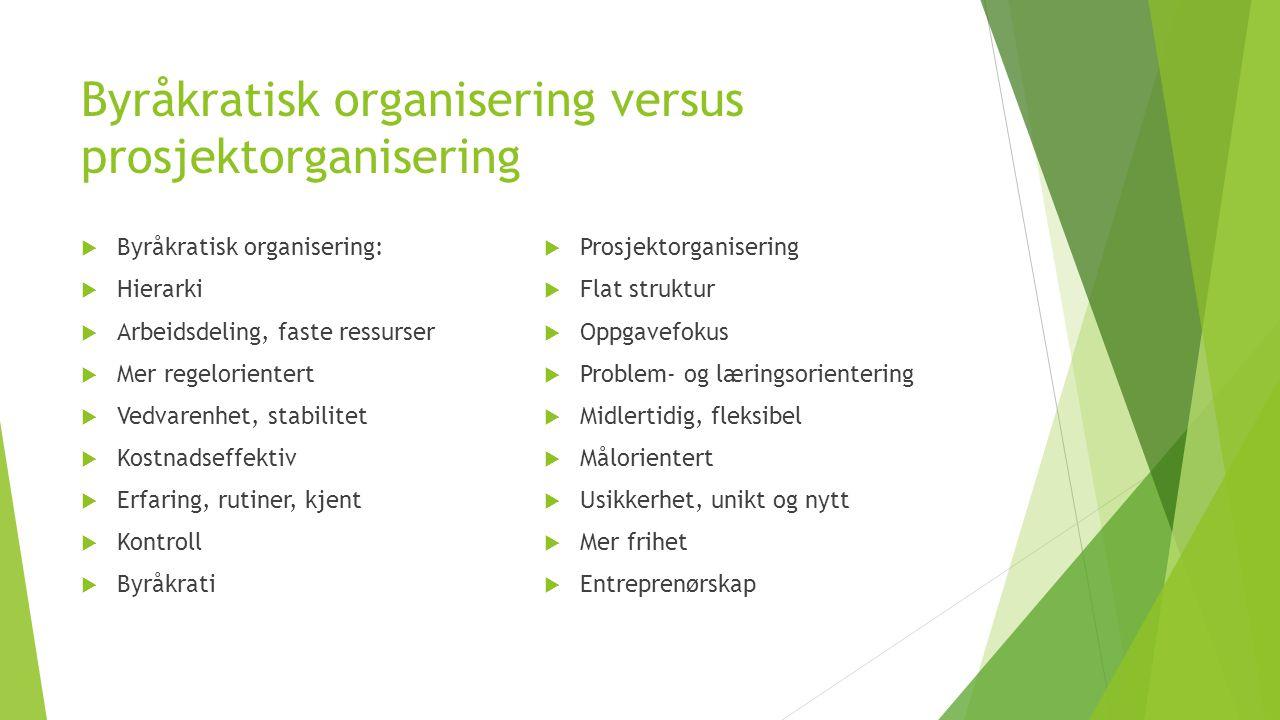 Byråkratisk organisering versus prosjektorganisering