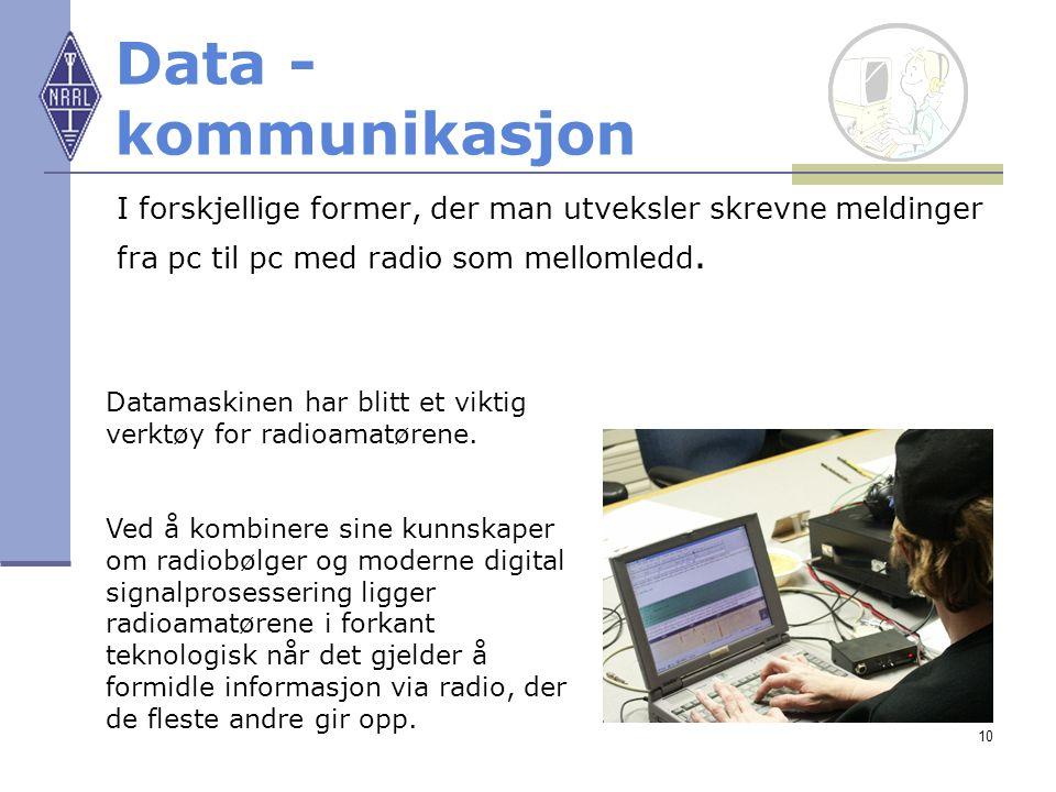 Data - kommunikasjon I forskjellige former, der man utveksler skrevne meldinger. fra pc til pc med radio som mellomledd.