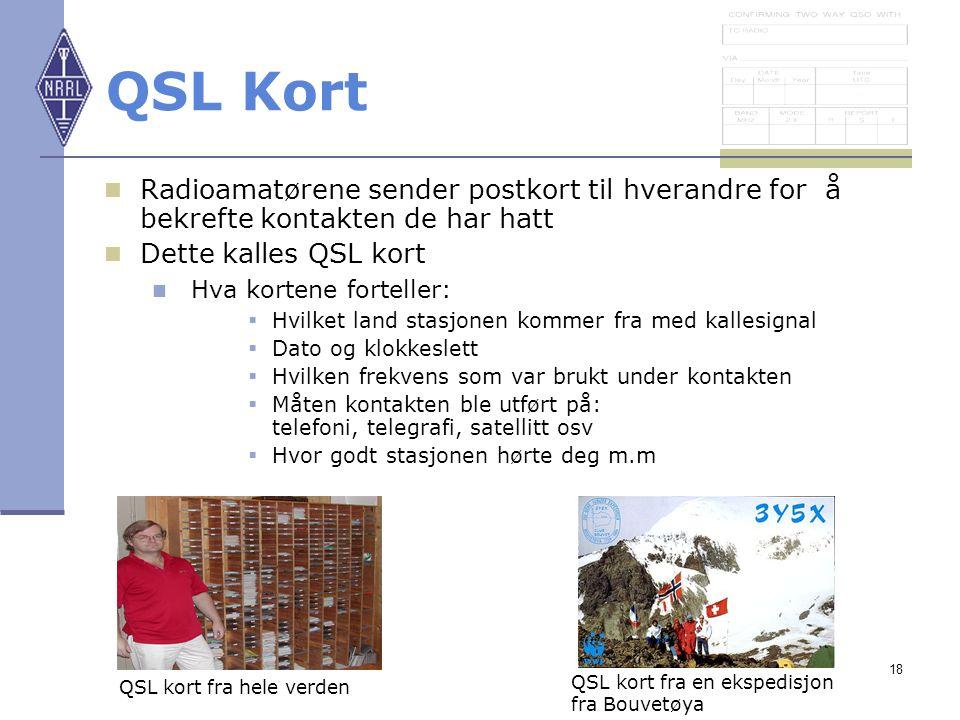 QSL Kort Radioamatørene sender postkort til hverandre for å bekrefte kontakten de har hatt. Dette kalles QSL kort.