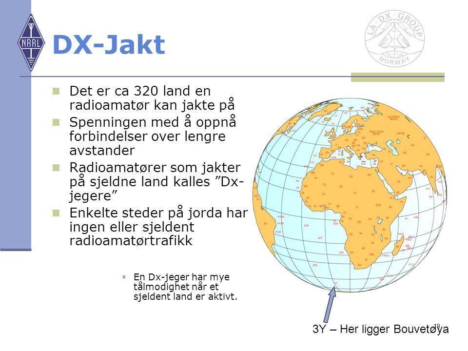 DX-Jakt Det er ca 320 land en radioamatør kan jakte på