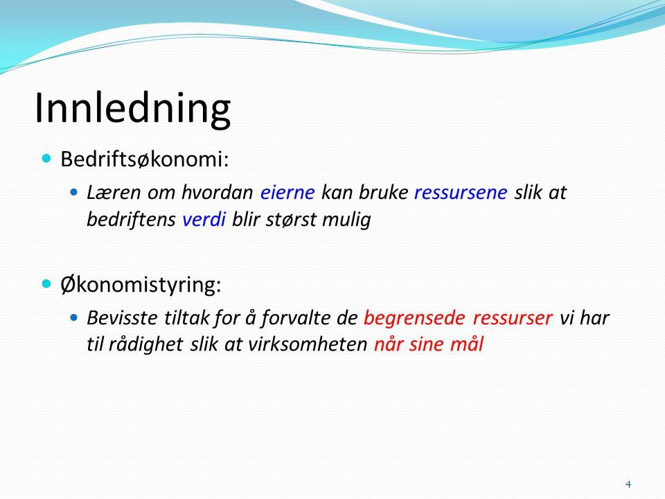 Innledning Bedriftsøkonomi: Økonomistyring: