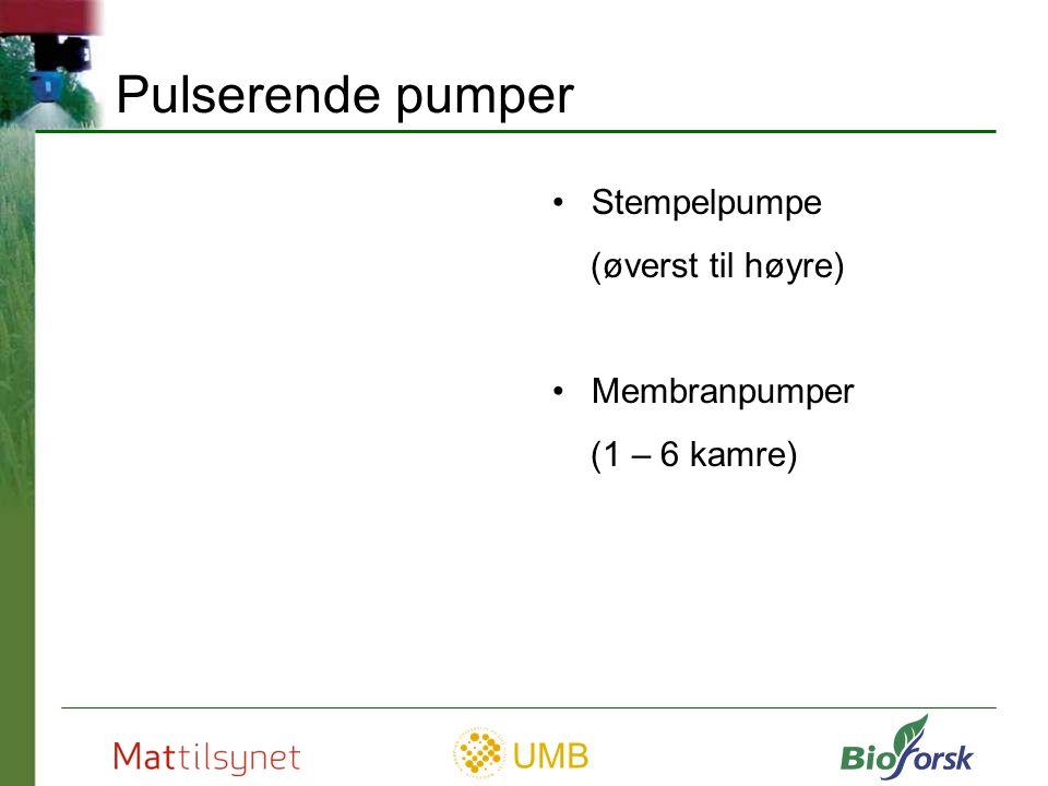 Pulserende pumper Stempelpumpe (øverst til høyre) Membranpumper