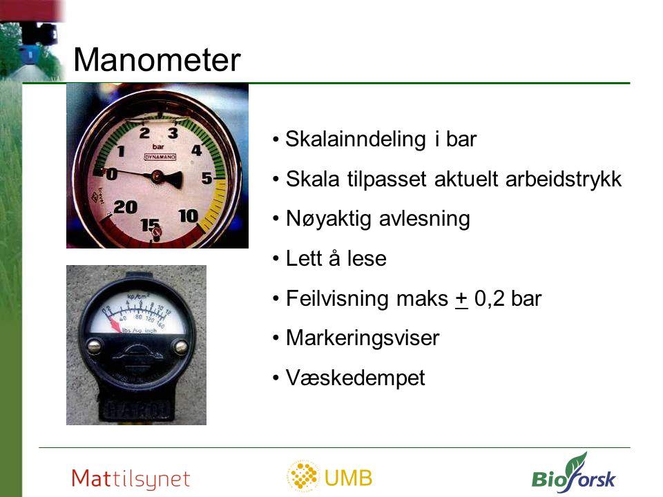 Manometer Skalainndeling i bar Skala tilpasset aktuelt arbeidstrykk