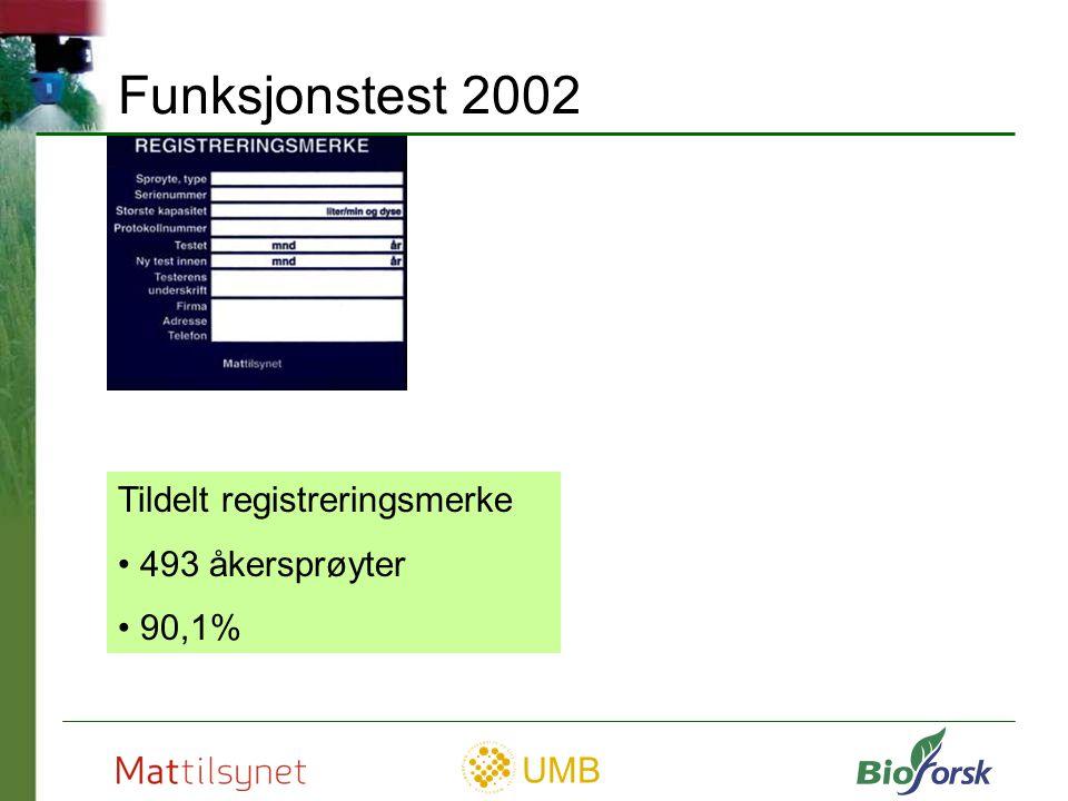 Funksjonstest 2002 Tildelt registreringsmerke 493 åkersprøyter 90,1%