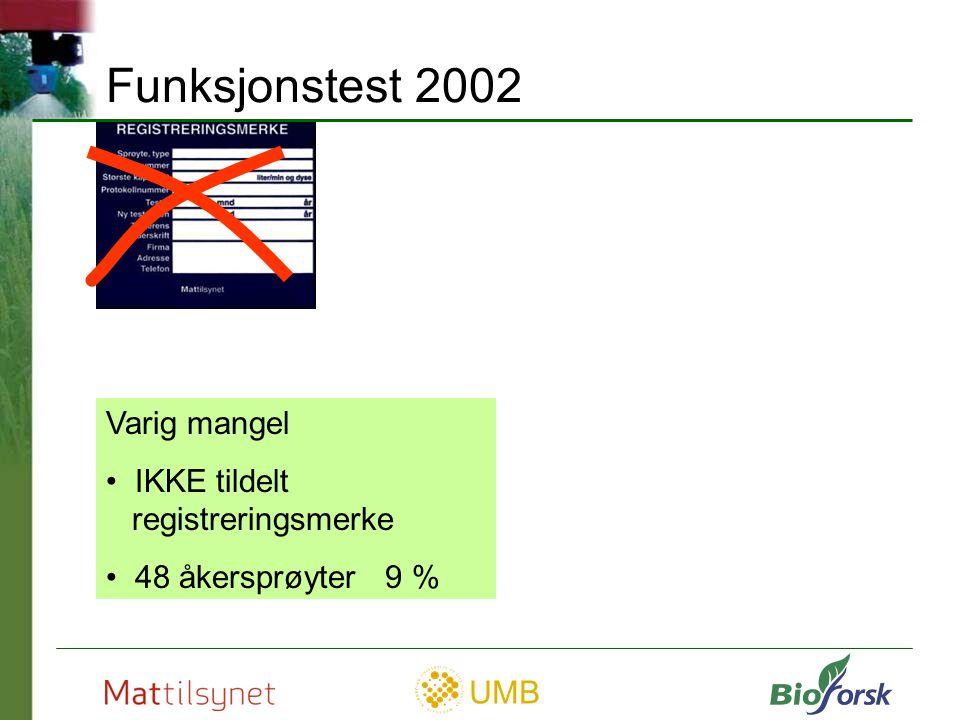 Funksjonstest 2002 Varig mangel IKKE tildelt registreringsmerke