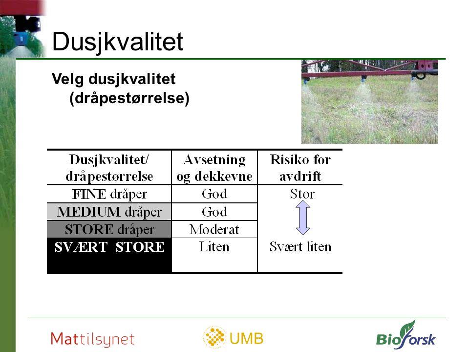 Dusjkvalitet Velg dusjkvalitet (dråpestørrelse)