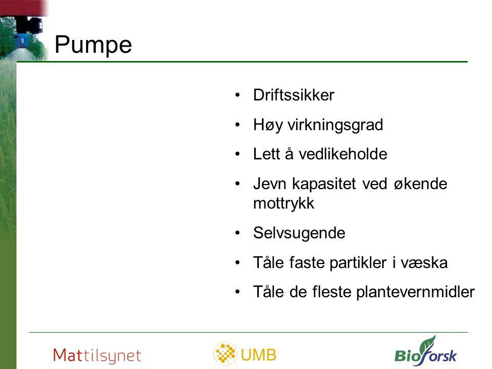 Pumpe Driftssikker Høy virkningsgrad Lett å vedlikeholde