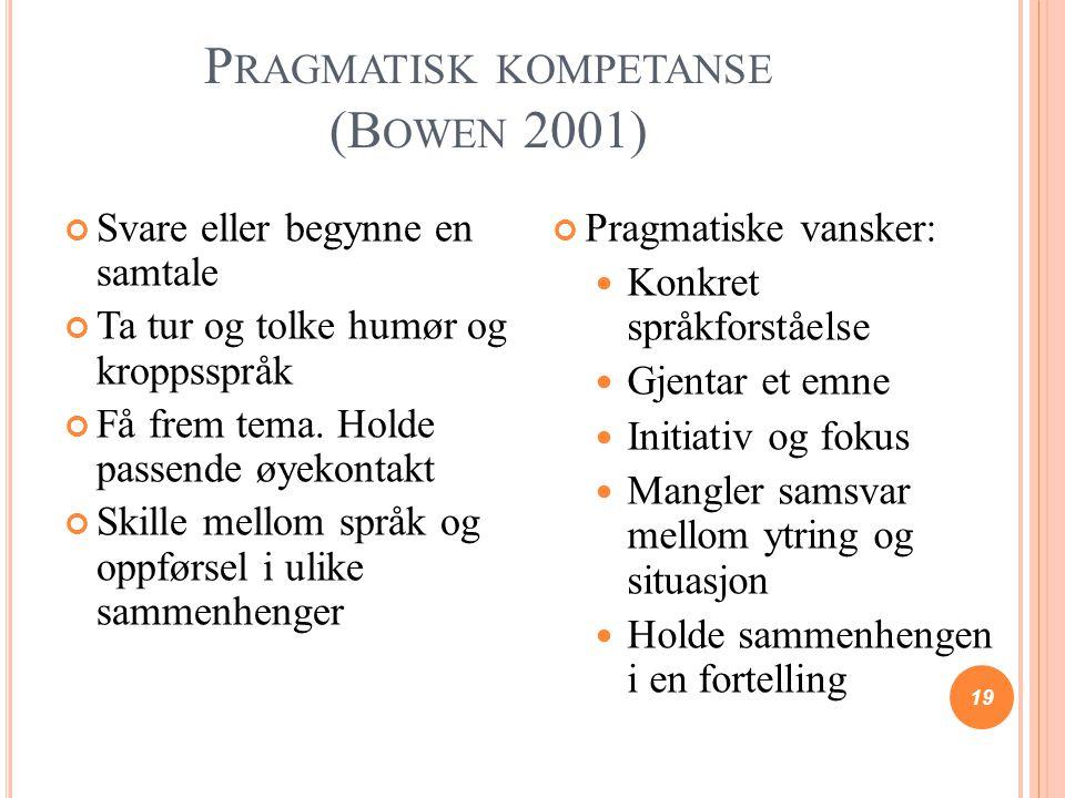 Pragmatisk kompetanse (Bowen 2001)