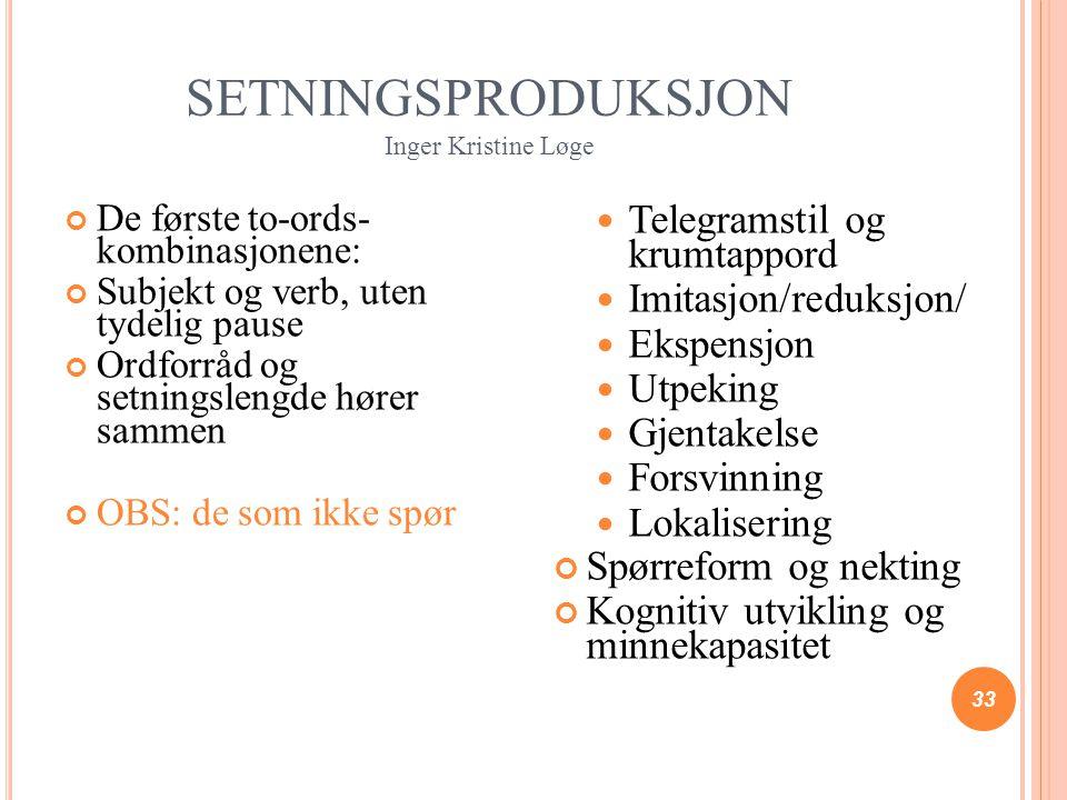 SETNINGSPRODUKSJON Inger Kristine Løge