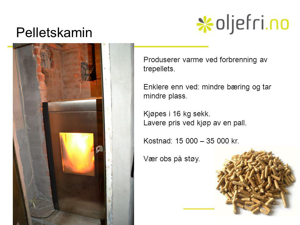 Pelletskamin Produserer varme ved forbrenning av trepellets.