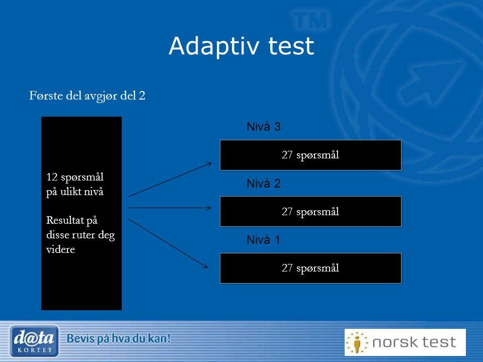 Adaptiv test Første del avgjør del 2 Nivå 3 12 spørsmål på ulikt nivå