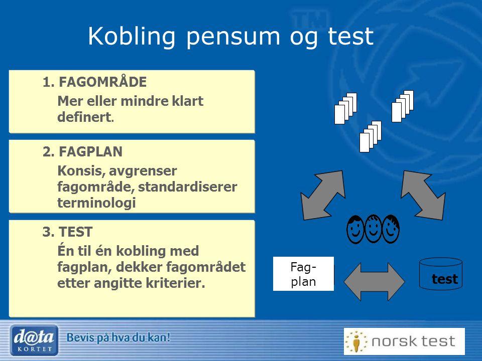 Kobling pensum og test 1. FAGOMRÅDE Mer eller mindre klart definert.