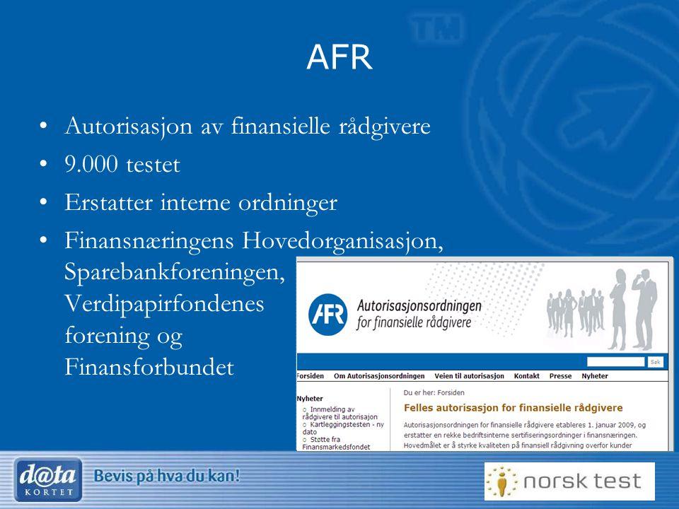 AFR Autorisasjon av finansielle rådgivere 9.000 testet
