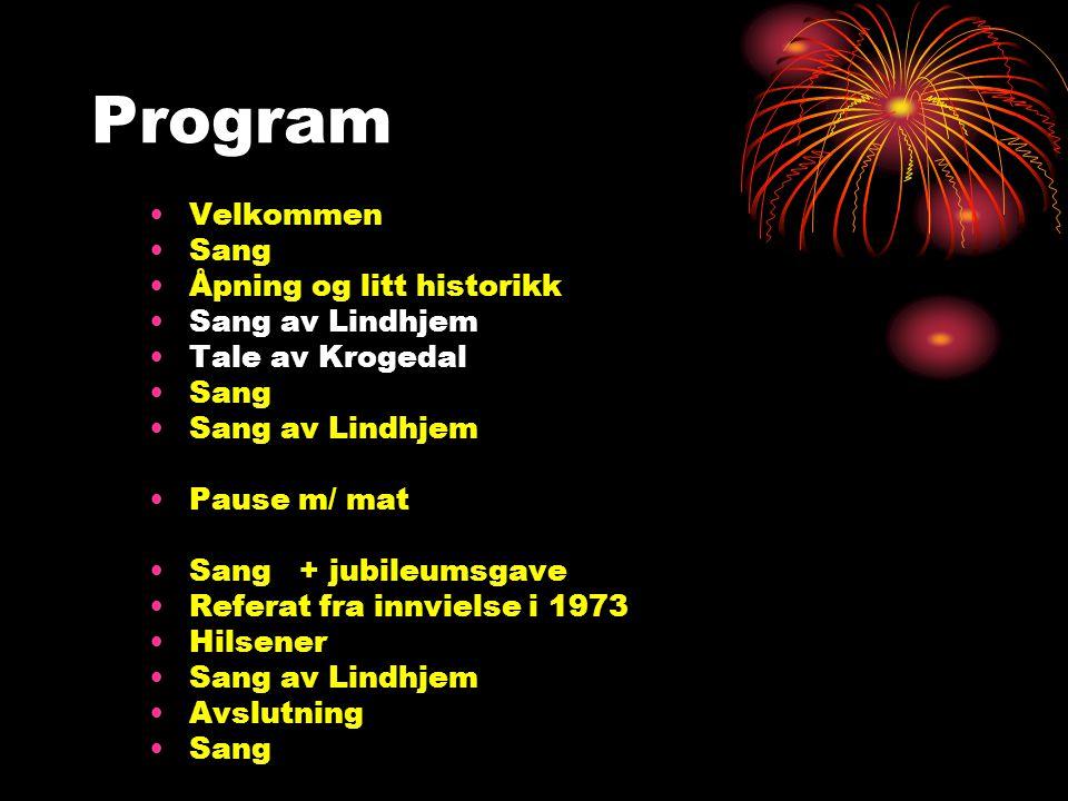 Program Velkommen Sang Åpning og litt historikk Sang av Lindhjem
