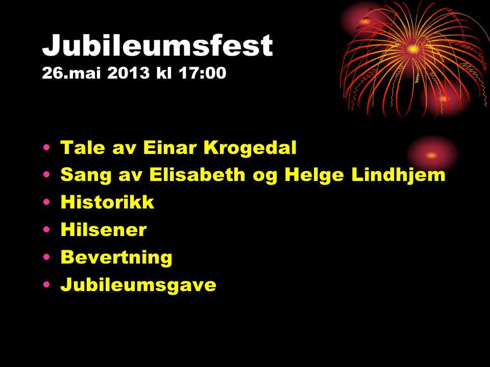 Jubileumsfest 26.mai 2013 kl 17:00 Tale av Einar Krogedal
