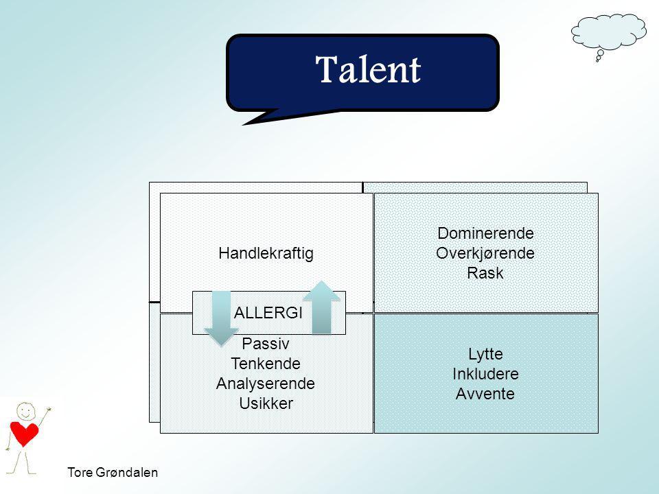 Talent Talent (god på) Overslag (for mye av talentet) Handlekraftig