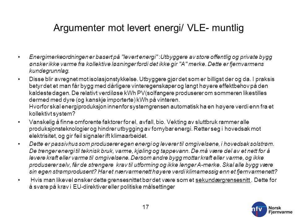 Argumenter mot levert energi/ VLE- muntlig